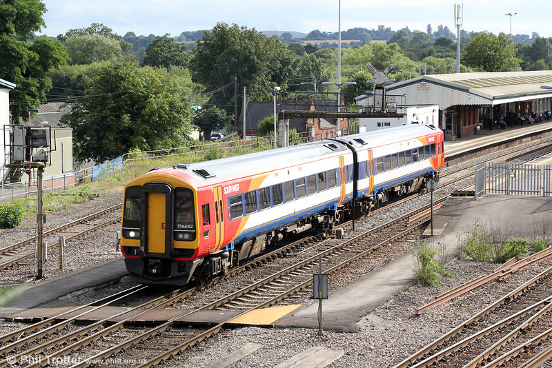 FGW's on-hire SWT 158882 at Westbury having formed 2M23, 1600 from Swindon on 10th August 2013.
