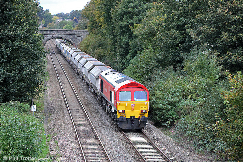 59206 'John F Yeoman - Rail Pioneer' approaches Oldfield Park with 6A63, 1340 Avonmouth (Bennets Siding) to Westbury on 26th October 2013.