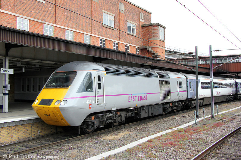 43317 waits at York with 1S22, 1500 London Kings Cross to Edinburgh on 3rd July 2013.