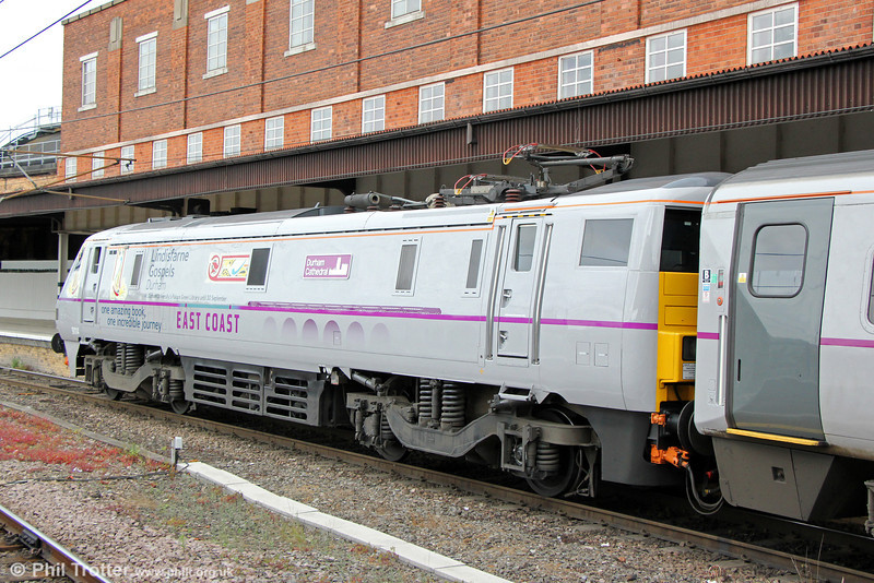 91114 'Durham Cathedral' at York heading 1N21, 1430 London Kings Cross to Newcastle on 3rd July 2013. 91114 is experimentally fitted with twin pantographs.
