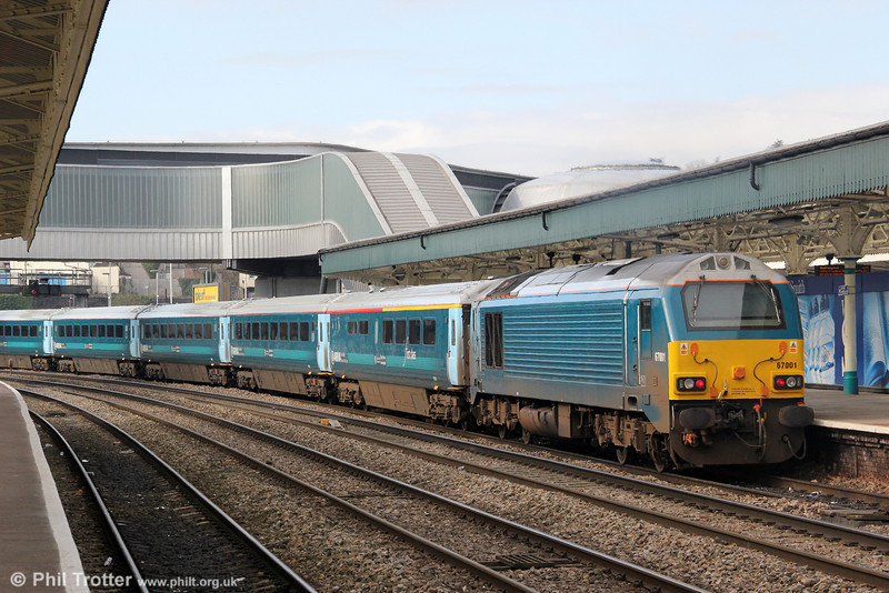 67001 propels 1V31, 0533 Holyhead to Cardiff Central away from Newport on 18th March 2013.
