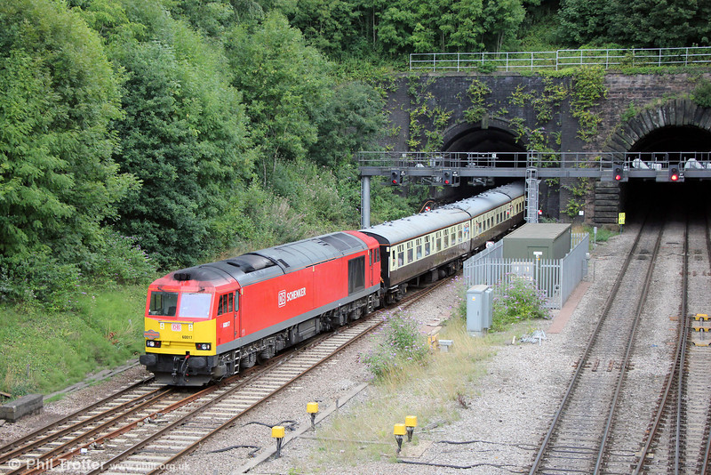 60017 at Gaer Junction with Pathfinder's 1Z58, 0933 Bristol Temple Meads to Machen Quarry via Ebbw Vale, 'The Taffy Tug' on 25th August 2013.