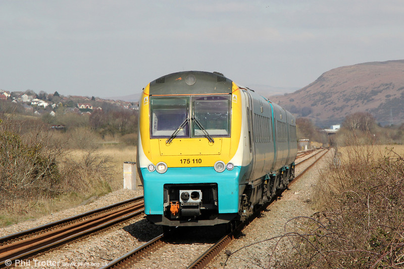175110 approaches Llangennech with the diverted 1V77, 0930 Manchester Piccadilly to Carmarthen on 29th March 2013.