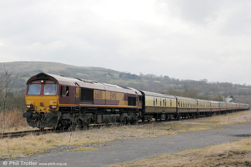 66181 leads UK Railtours 1Z65, 1205 Uskmouth Power Station to Gwaun Cae Gurwen, 'The Amman Valley Ranger' towards the loading point at GCG on 9th March 2013.
