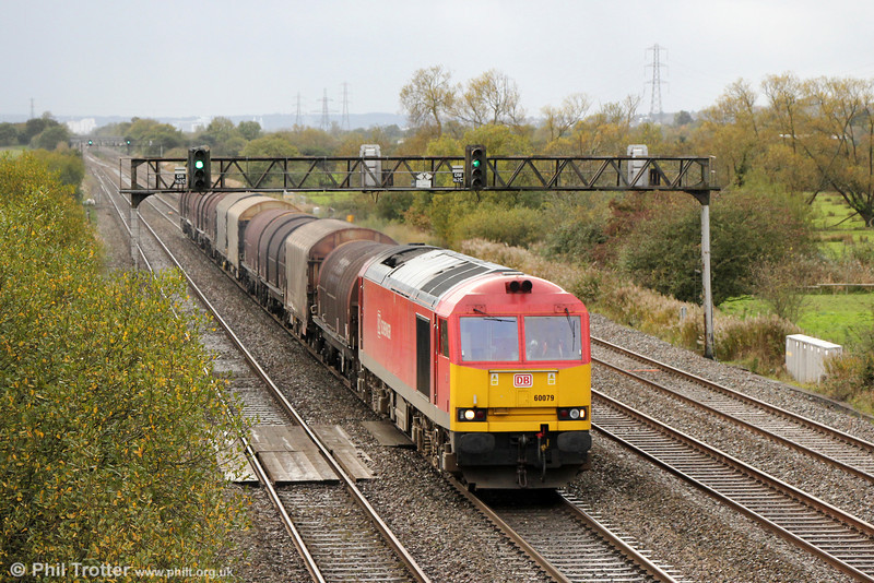 60079 passes Coedkernew with 6E47, 1345 Margam to Middlesborough on 3rd November 2013.
