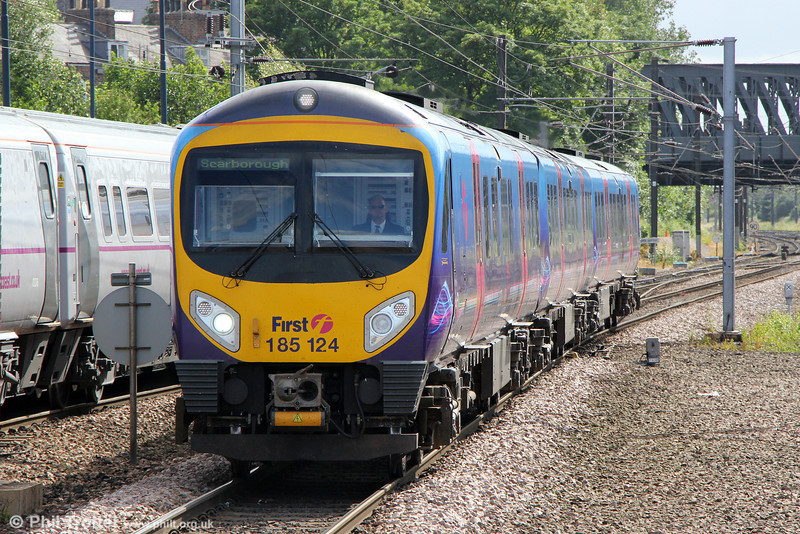 185124 at York forming 1E84, 1422 Liverpool Lime Street to Scarborough on 1st July 2013.