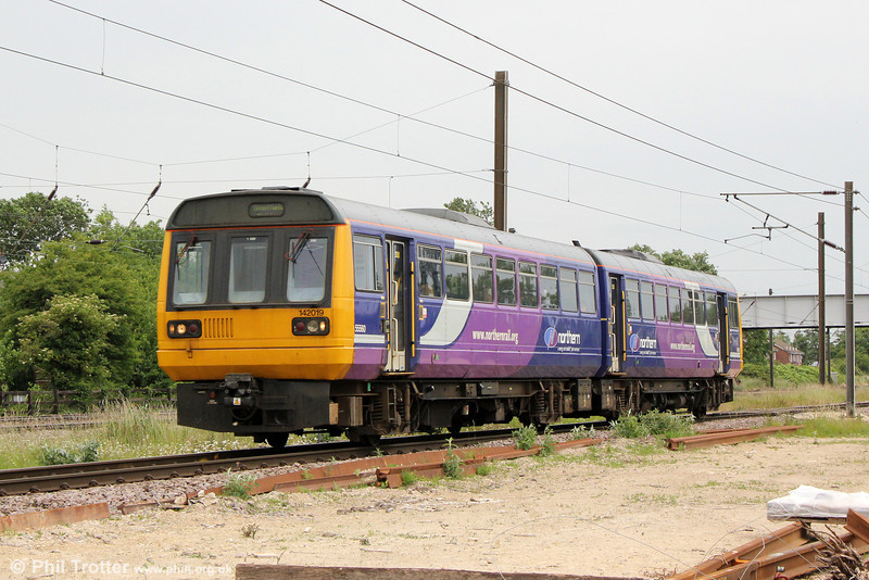 Northern's 142019 passes Copmanthorpe forming 2Y87, 1106 York to Sheffield on 2nd July 2013.