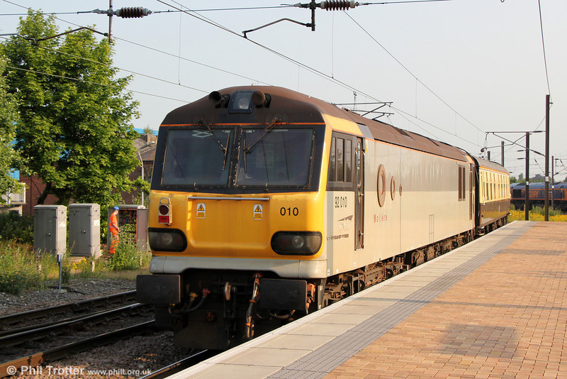 92010 'Moliere' brings up the rear of  1Z92, 0709 Doncaster to Glasgow Central GBRf private charter at York on 6th July 2013.