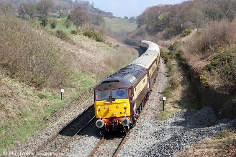 On the warmest day of the year so far, DRS 47790 'Galloway Princess' passes Llanfihangel with 1Z12, 0707 Liverpool Lime Street to Cardiff Central, 'Northern Belle' on 20th April 2013. Classmate 47501 was at the rear.