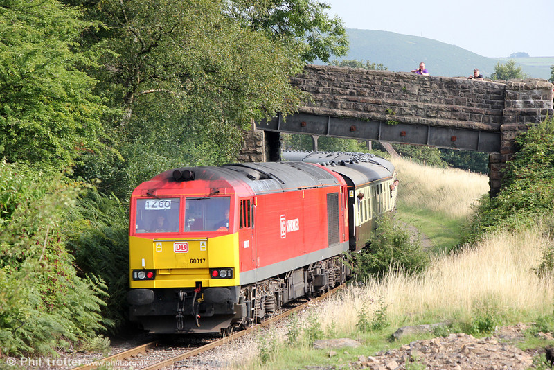 60017 at Bedlinog, bringing up the rear of Pathfinder's 1Z60, 1609 Cwmbargoed to Bristol Temple Meads via Coryton, 'The Taffy Tug' on 25th August 2013.