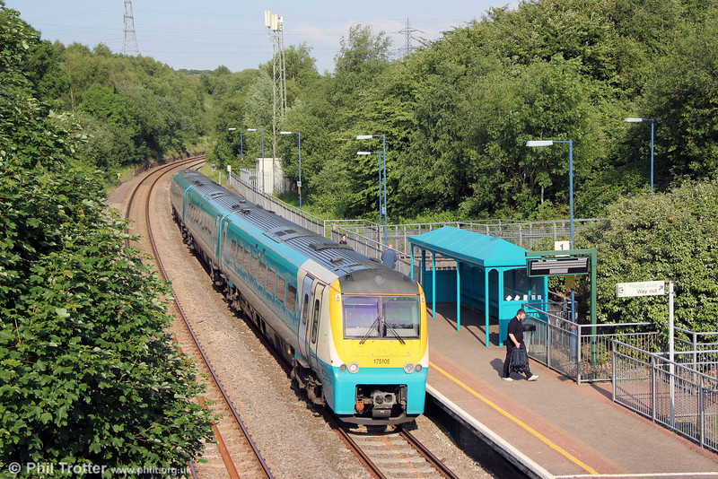 175105 calls at Llansamlet forming 1V85, 1330 Manchester Piccadilly to Tenby on 19th June 2013.