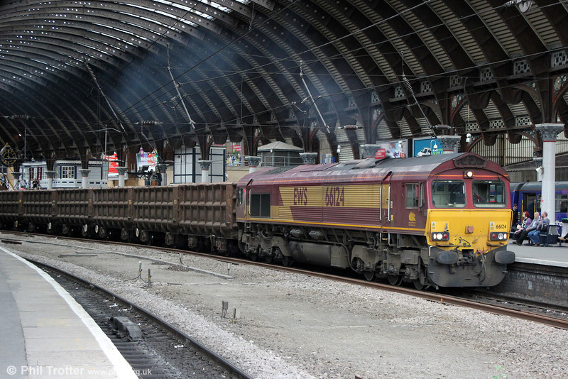 66124 at York with 6D11, 1323 Lackenby to Scunthorpe on 3rd July 2013.