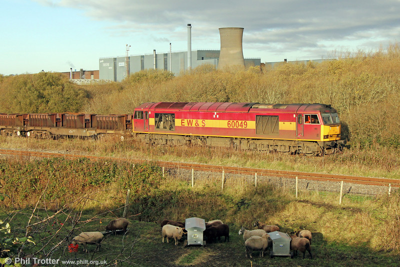 60049 departs from Trostre Works with 6B61, 1105 to Margam on 24th November 2013.