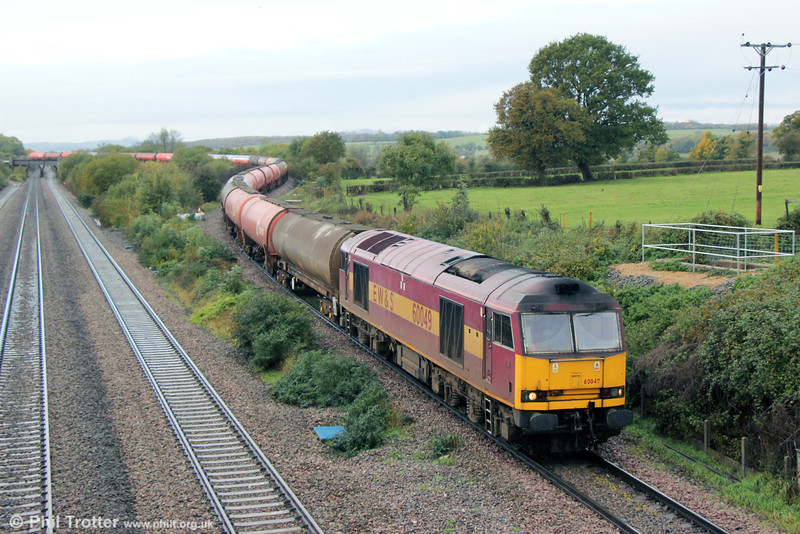 Still awaiting overhaul to 'Super 60' condition, 60049 is seen at Llandevenny with 6B13, 0504 Robeston to Westerleigh on 9th November 2013.
