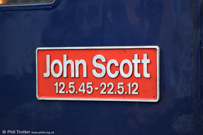 Nameplate of 47805 'John Scott' at Bristol Temple Meads on 26th October 2013.