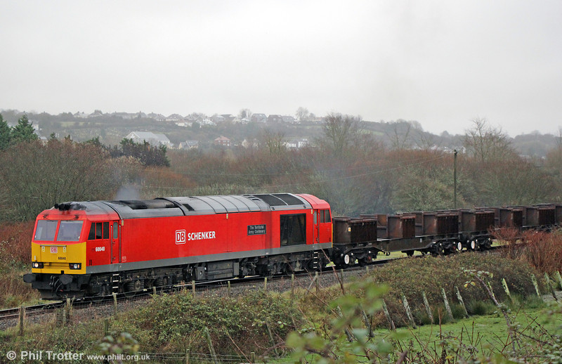 60040 'The Territorial Army Centenary' negotiates the Genwen loop with 6B61, 1118 Trostre to Margam on 15th December 2013.
