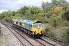 66518 and 66564 at Filton Abbey Wood running as 0Y17, 1515 Stoke Gifford to Westbury on 26th October 2013,