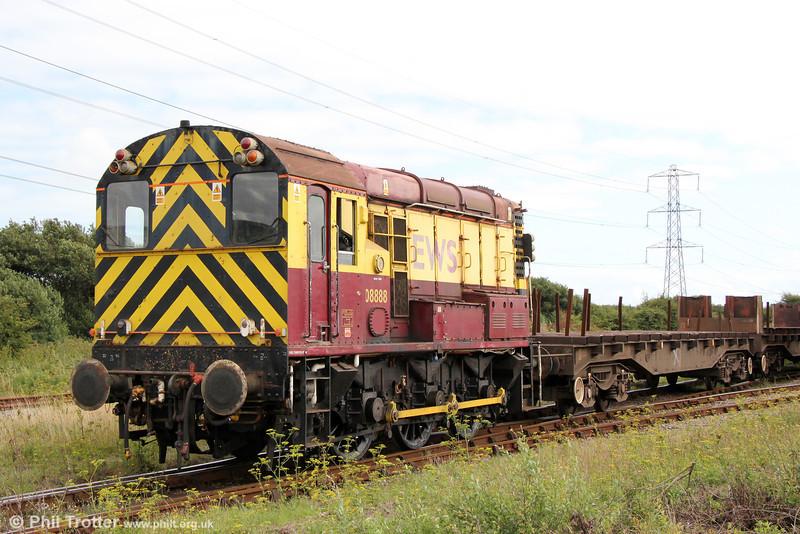 08888 shunts Margam, Knuckle Yard on 18th August 2013.
