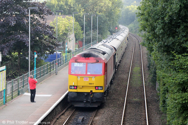60017 passes Llanbradach at the rear of Pathfinder's 1Z60, 1609 Cwmbargoed to Bristol Temple Meads via Coryton, 'The Taffy Tug' on 25th August 2013.