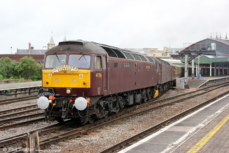 47786 'Roy Castle OBE' and 47760 depart from Bristol Temple Meads with Statesman Rail's 1Z30, 0500 Shrewsbury to Penzance, 'The Cornish Riviera Statesman' on 22nd June 2013.