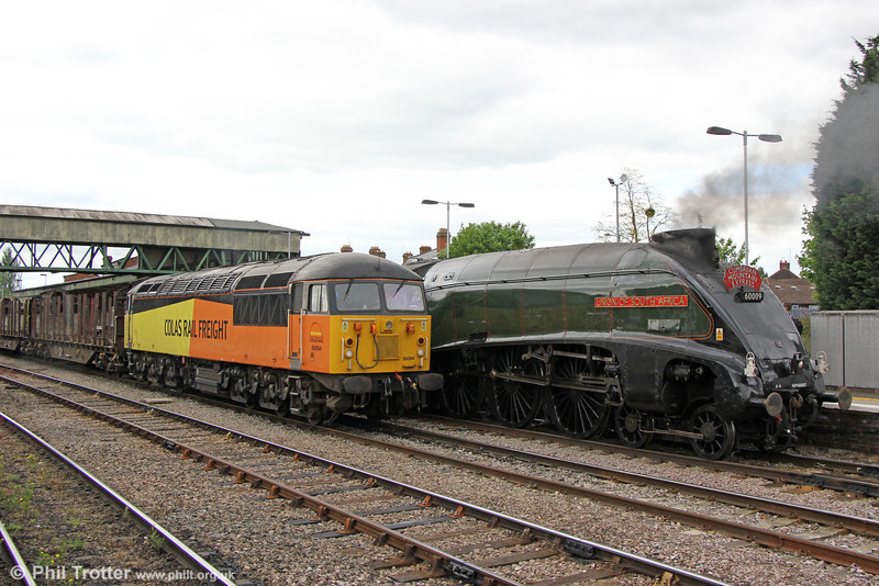 Heritage traction at Hereford. 56094 alongside LNER A4 4-6-2 60009 'Union of South Africa'.