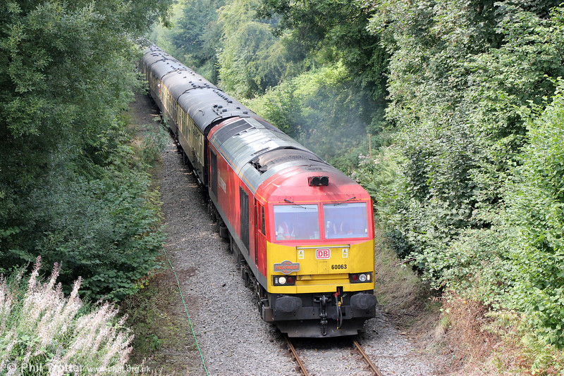 60063 approaches Rhiwderin with Pathfinder's 1Z59, 1304 Machen Quarry to Cwmbargoed via Penarth, 'The Taffy Tug' on 25th August 2013.