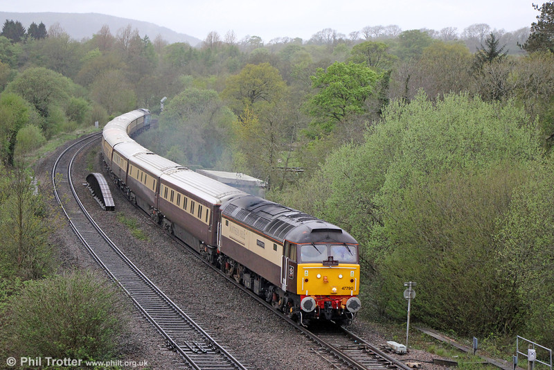 47790 'Galloway Princess' passes Miskin with 1Z55, 0712 Swansea to Chester, 'The Northern Belle' on 10th May 2013.