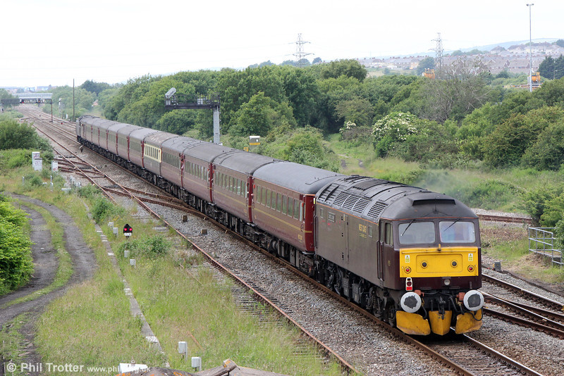 47854 'Diamond Jubilee' brings up the rear of Compass Tours 1Z84, 0542 Hereford to Carmarthen via Birmingham and Shrewsbury, 'The Welsh Mountaineer' at Llandeilo Junction on 28th June 2013.