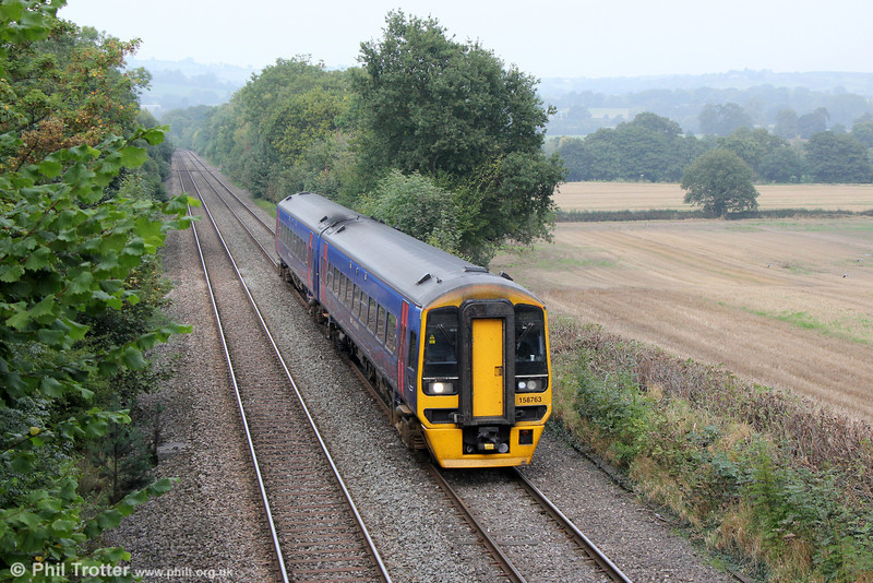 An unusual sight on the North & West route: FGW's 158763 passes Llanover on 28th September 2013 with charter 1Z14, 1130 Llandudno to Exeter St. Davids, run in connection with the ACoRP Community Rail Festival, held this year at Llandudno.