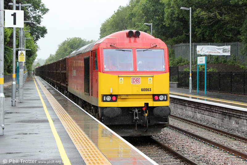 60063 at the rear of the diverted 6B01, 1118 Margam to Trostre on 16th June 2013.