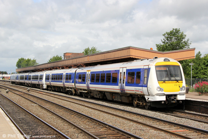 A first appearance in these pages of one of Chiltern Railways quartet of class 172/1s built in 2011. 172102 (with 168110) departs from Leamington Spa forming 1H14, 1012 Birmingham Snow Hill to London Marylebone on 15th June 2013. Chiltern's 172s are more normally to be found on the southern end of the route and are not usually diagrammed to work at weekends.
