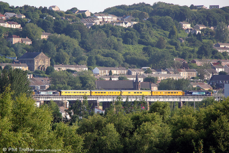 37261 and 37194 on Landore Viaduct with test train 1Q13 on 25th June 2013.