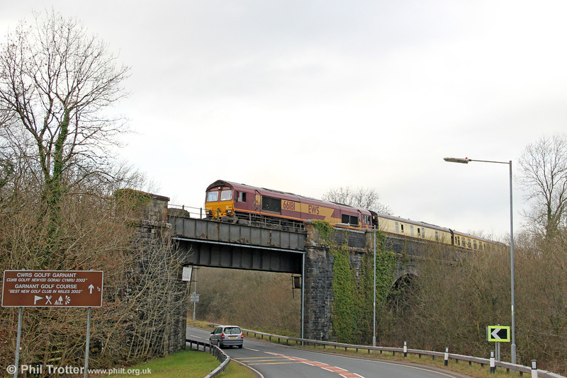 66181 leads UK Railtours 1Z65, 1205 Uskmouth Power Station to Gwaun Cae Gurwen, 'The Amman Valley Ranger' over the A474 at Garnant on 9th March 2013.