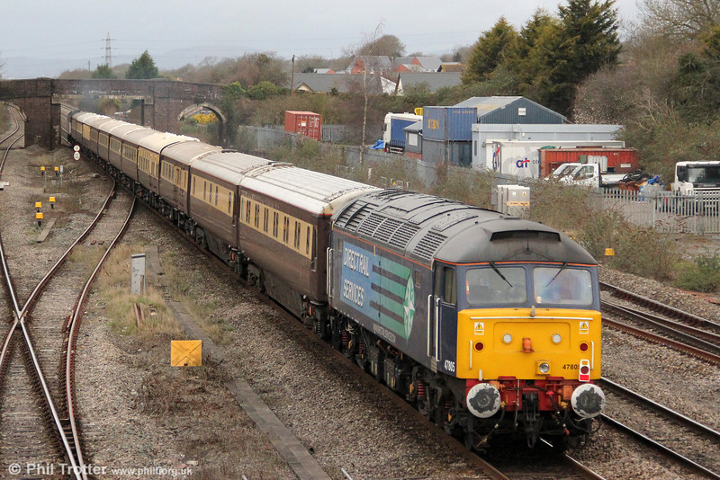 47805 brings up the rear of Northern Belle 1Z38, 1313 London Paddington to Cardiff Central 'Rugex' at Magor on 16th March 2013.