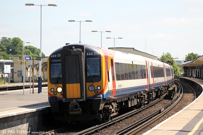 444016 at Basingstoke forming 2B27, 1039 London Waterloo to Poole on 8th June 2013.