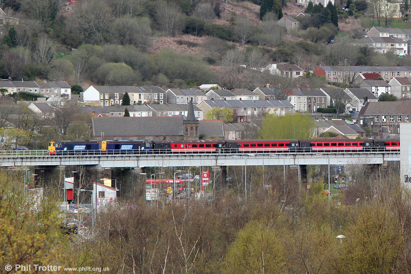 DRS 20312 and 20308 cross Landore Viaduct with Retro Railtours 1Z29, 0700 Huddersfield to Swansea, 'The Retro Welsh Dragon' on 27th April 2013.
