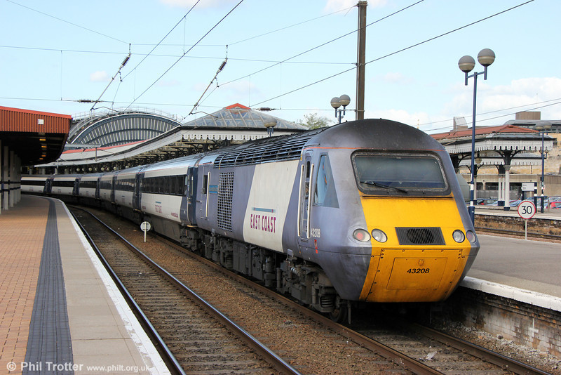 43208 'Lincolnshire Echo' waits to leave York with 1Y90, 1801 to London Kings Cross<br /> on 1st July 2013.