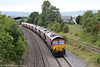 66063, 66065, 66074, 66143, 66087, 66152, 66127 and 66067 pass Grange Court, running as 0X12, 1004 Margam to Eastleigh on 21st September 2013. The gap in the trees marks the point where the former line to Ross on Wye and Hereford left the main line.