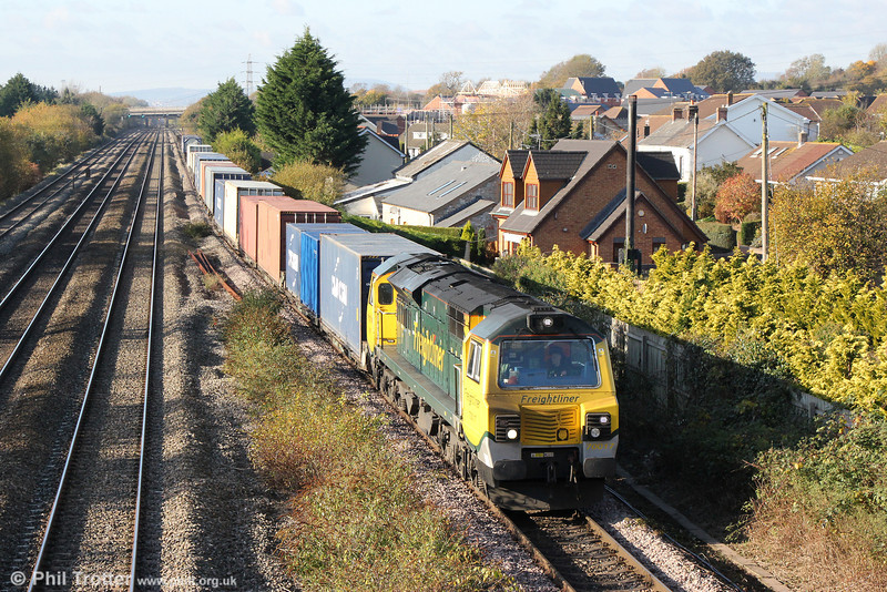 70017 approaches Magor with 4O59, 1044 Wentloog to Southampton on 23rd November 2013.