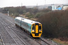 158837 passes Llandeilo Junction forming 2E03, 0709 Pembroke Dock to Cardiff Central on 12th January 2013.