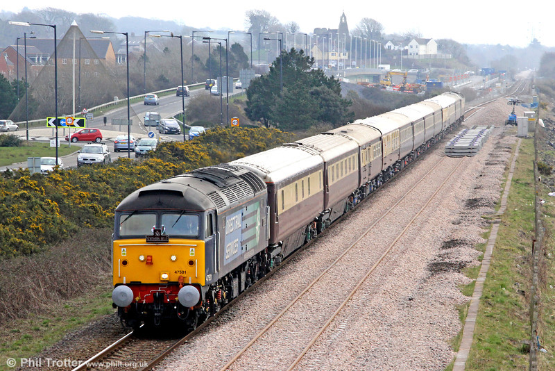 DRS 47501 'Craftsman' passes Loughor with 1Z83, 0857 Cardiff Central to Fishguard Harbour, 'The Northern Belle' on 2nd March 2013. The new down line is now in situ ready for commissioning once the new Loughor Viaduct has been installed.