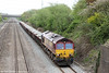 Lickey banker 66059 passes Llandevenny with 6B65, 1125 Westbury to Newport ADJ on 10th May 2013.