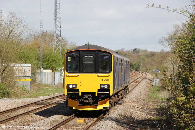 150131 approaches Kemble forming 2B90, 1001 Cheltenham Spa to Swindon on 4th May 2013.