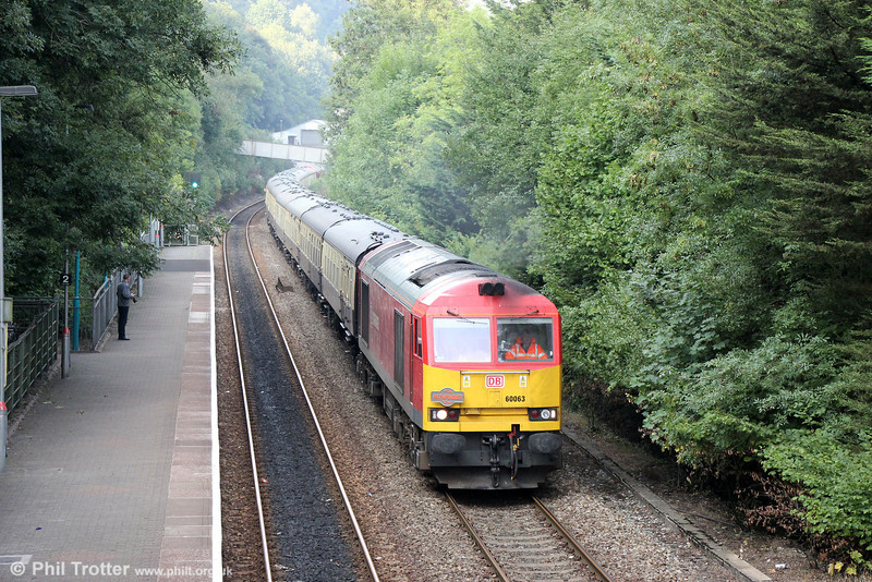 60063 passes Llanbradach with Pathfinder's 1Z60, 1609 Cwmbargoed to Bristol Temple Meads via Coryton, 'The Taffy Tug' on 25th August 2013.