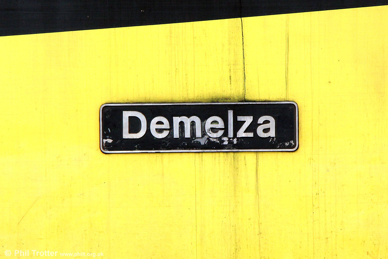 Nameplate of 47749 'Demelza' stabled at Westbury on 7th September 2013.