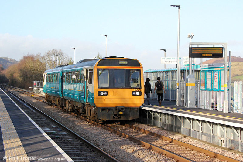 The new £5.2M station at Energlyn & Churchill Park was formally opened on 16th December 2013. (The northbound platform is in the Energlyn suburb of Caerphilly, the southbound one is in Churchill Park). 142070 calls with 2P62, 1400 Bargoed to Penarth on 31st December 2013.