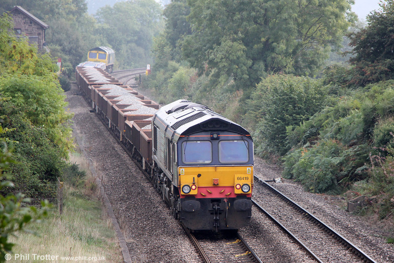 Former DRS 66419 brings up the rear of 6Y18, 0934 Crewe Basford Hall to Severn Tunnel Junction at Penpergwm on 28th September 2013.