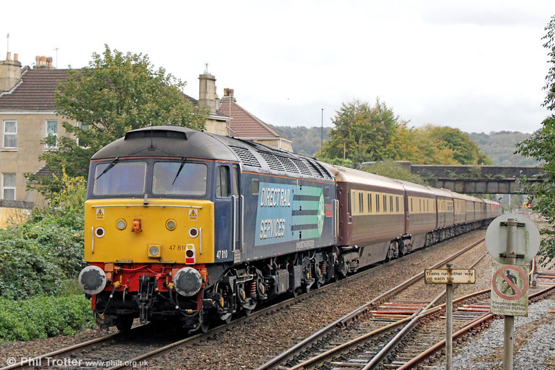47810 'Peter Bath MBE' brings up the rear of 1Z33, 0707 Liverpool Lime Street to Bath, 'Northern Belle' at Oldfield Park on 26th October 2013.