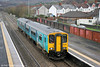 Reliveried 150255 calls at Caerphilly forming 2D30, 1132 Penarth to Bargoed on 31st December 2013.