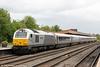 Chiltern Railways 67012 'A Shropshire Lad' propels Chiltern Mainline 1H24, 1355 Birmingham Moor Street to London Marylebone at Leamington Spa on 15th June 2013.